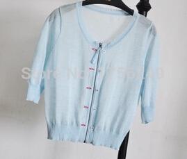 2015 New Spring summer v neck fashion Cropped sleeves slim sweater linen cotton Thin zipper women