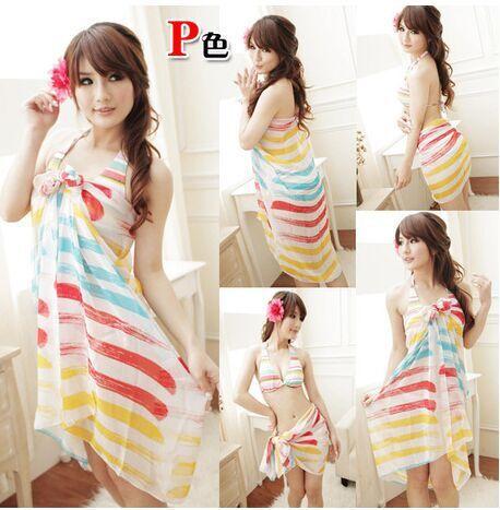 2015 new seaside beach towels Chiffon rainbow striped scarf(China (Mainland))