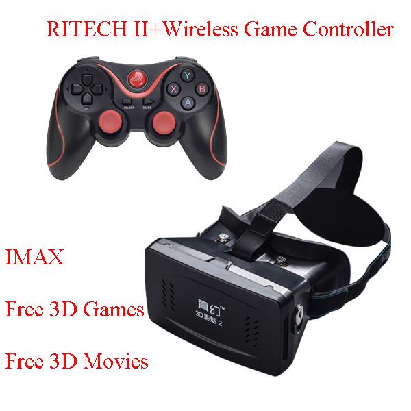 RITECH II Head Mount Plastic Version VR Virtual Reality Glasses Magnet Google Cardboard +Bluetooth Wireless game controller Box(China (Mainland))