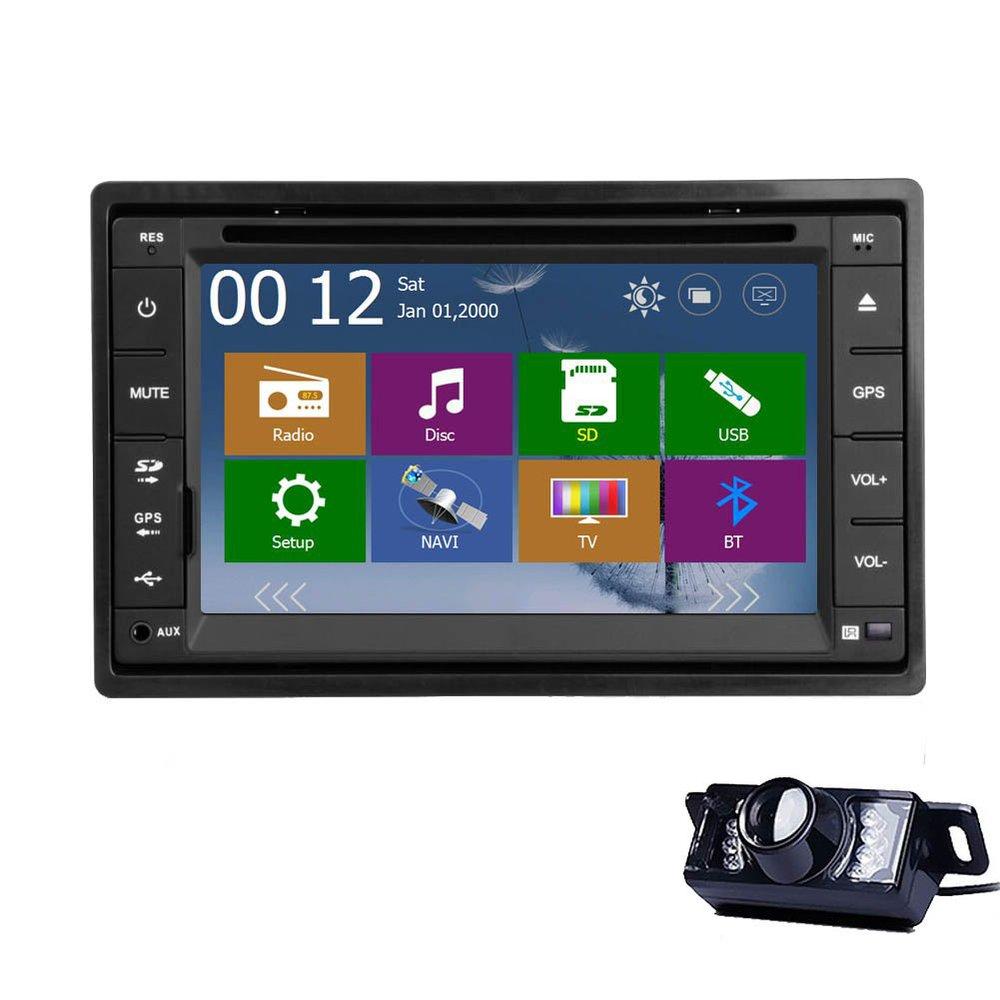 Rear Camera+GPS Map Universal 2 DIN Car Stereo Audio Video GPS Navigation Car DVD Player USB/SD/AM FM/RDS/BT/HD 800*480 Car PC(China (Mainland))