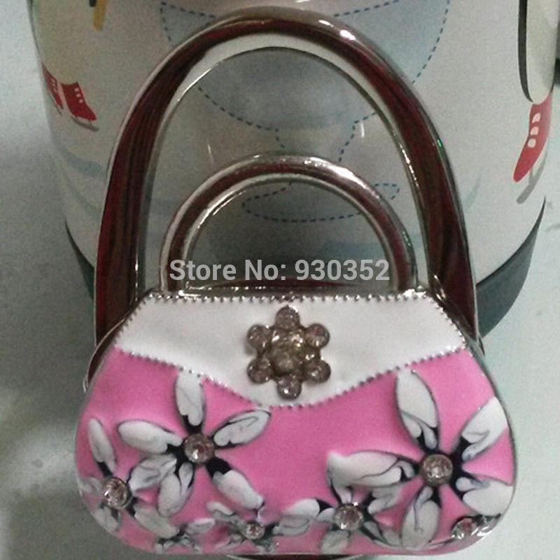 2015 Blue and white porcelain Women Cute Folding Bag Purse Handbag Hook Hanger Table Holder Gifts Free Shipping E7423-pink(China (Mainland))