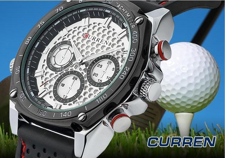 Fashion Men's CURREN Golf ball Style 3 smalls Dials Silicone Strap Quartz Waterproof Wrist Watches 8146 Good quality(China (Mainland))