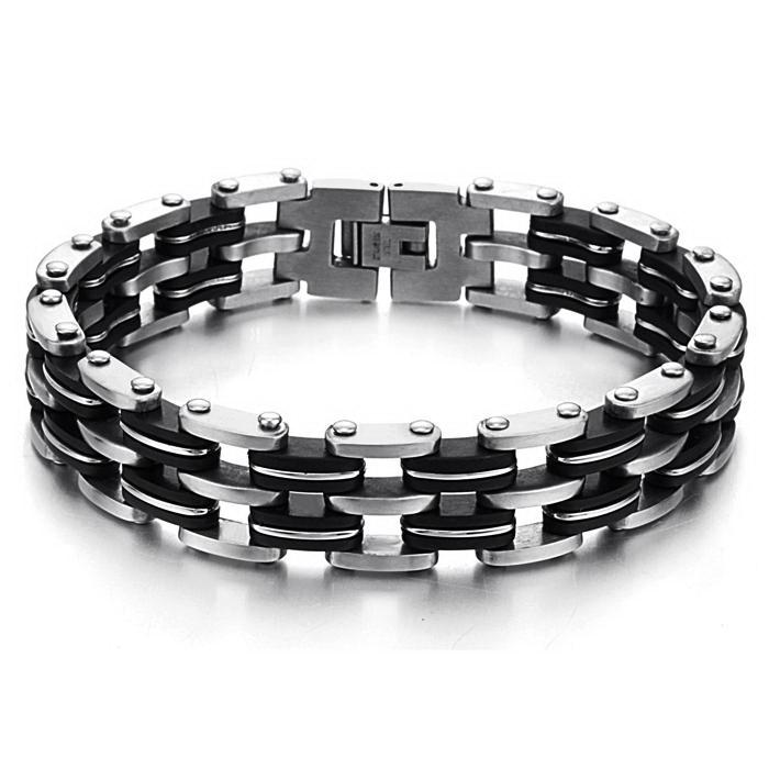 2015 New Fashion 2015 New Hot Sale Fashion New Bike Bicycle Chain Men's 316 titanium steel Bracelets for men(China (Mainland))