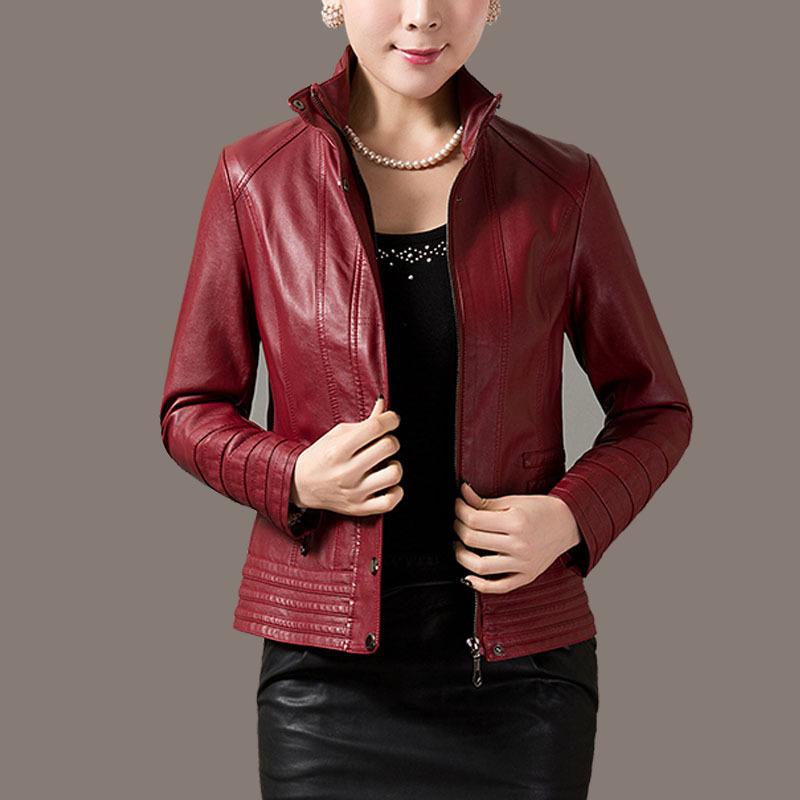 AAW jacket women spring 2015 leather jacket ladies short paragraph slim leather jacket women long sleeve sheepskin slim(China (Mainland))