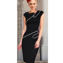 Black Summer Dress 2015 Women Wear to Office Ladies O-Neck Knee-length Sexy Empire Casual Bodycon Pencil Dresses Plus Size(China (Mainland))