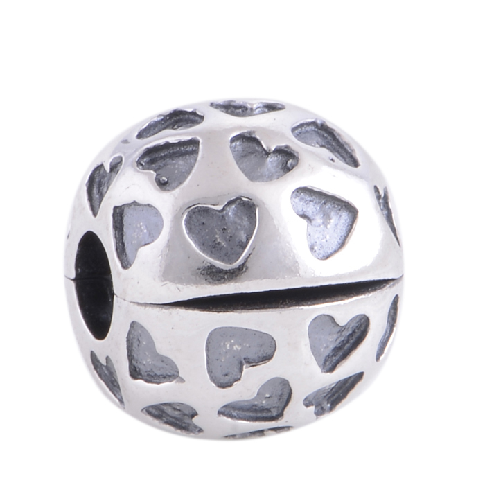 100% 925 Sterling Silver Lock Clip Stopper Charm Beads Ball with Love Hearts Fits European Pandora Charm Bracelet FG KT069-N(China (Mainland))