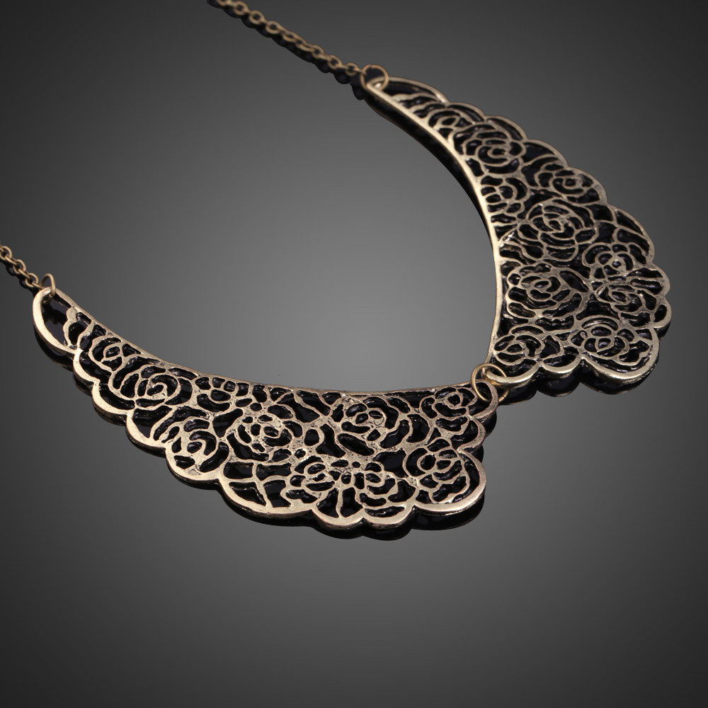 Vintage Style Carved Hollow out Alloy False Collar Necklace Rose Flower Choker Necklace Chain E#CH(China (Mainland))