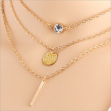 New Fashion Multi 3 Layers Chain Necklace Coins Crystal Long Strip Pendant Gold Plated Necklaces Jewelry For women