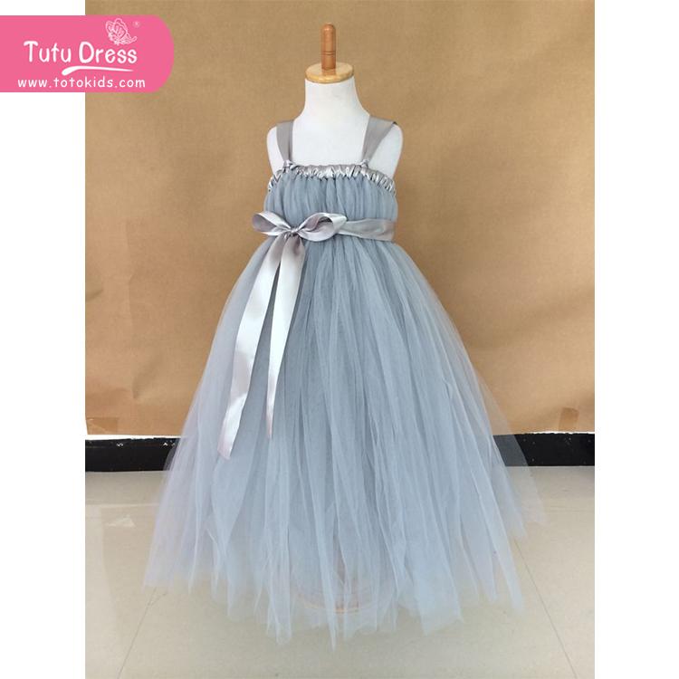 Sunny Fashion Girls Dress Grey Sash Princess Dress for Wedding Party Birthday(China (Mainland))