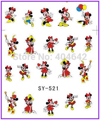1X Nail Sticker Black Mickey & Minnie Water Transfers Stickers Nail Decals Stickers Water Decal Opp Sleeve Packing SY521(China (Mainland))