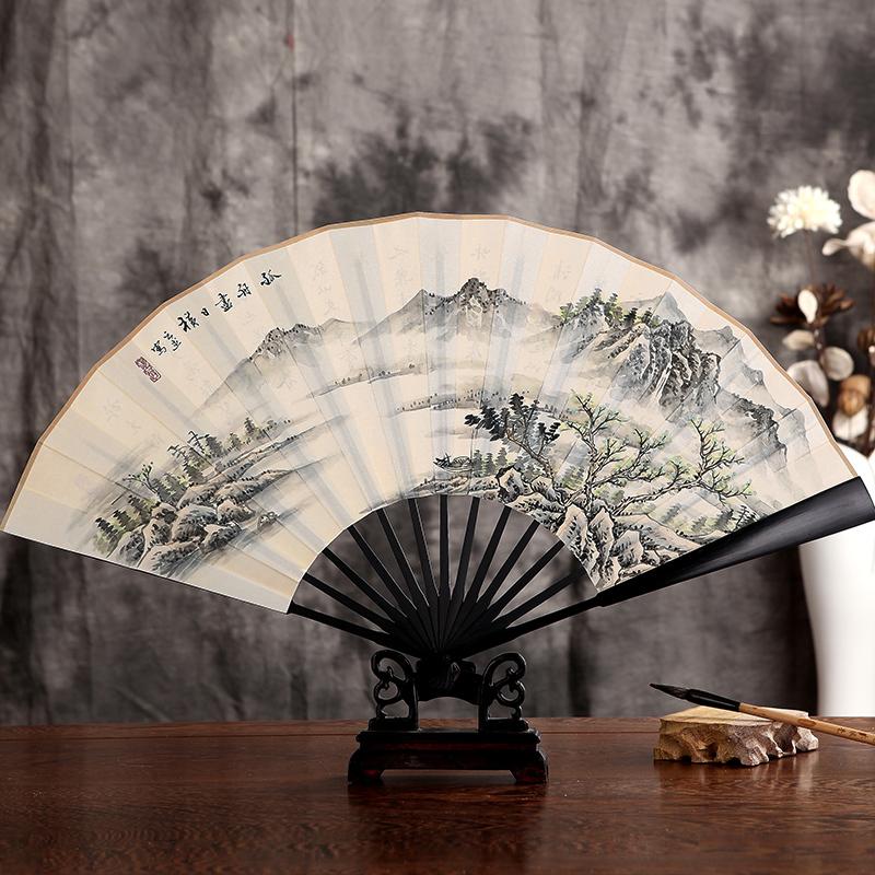 Arts Hall imitation ebony foot silk hand fan Chinese style painting white luxury gifts for men antiquity white folding(China (Mainland))