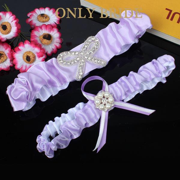 2pc/Set Purple Bridal Garter Set Rhinestone And Pearl Lilac Wedding Garters(China (Mainland))