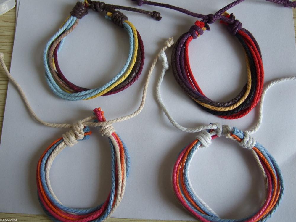 4pcs Mixed Surfer Multilayer Hemp Cotton Bracelet Wristband Bangle For Men Women(China (Mainland))