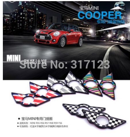 (20 pieces/lot ) Wholesale  3D Metal Car door lock mat stickers for MINI cooper R55 R56 R57 R58 R59 F56(China (Mainland))