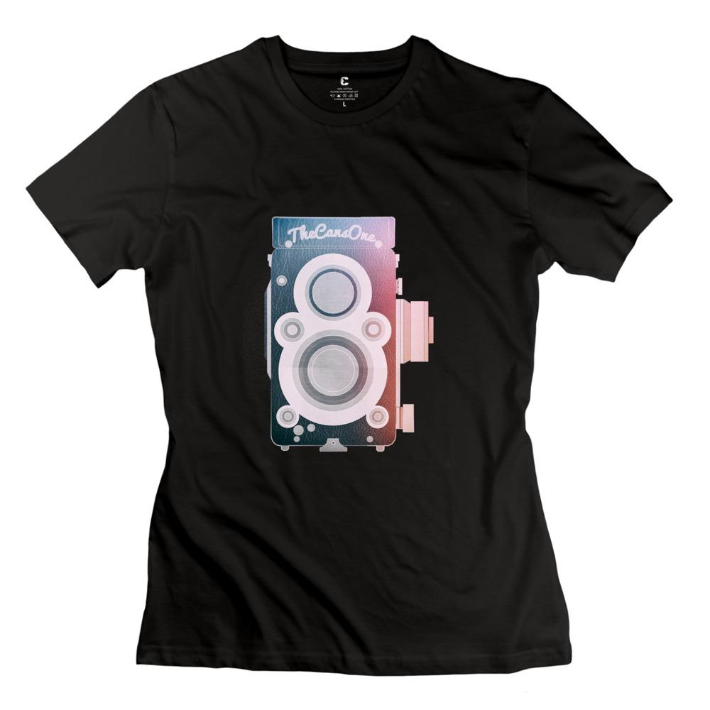 Free Shipping Twin Lens Reflex Camera Photography Addicte t shirt streetwear o collar womanGeek t shirt for female(China (Mainland))
