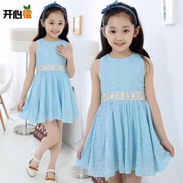 2015 New Fashion Summer 3-10 Age Elegant Girl's Lace Dress O-Neck Sleeveless Brand Design Vestidos Cute Girl Clothes(China (Mainland))