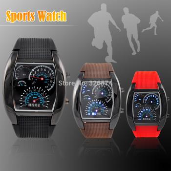 Мода мужские часы спорт веерообразные панель цифровой из светодиодов творческие часы