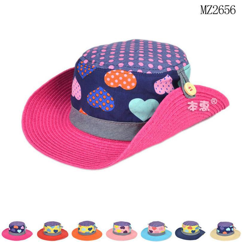 2015 Wholesale Korean summer Children Love pattern DOT Dome straw hat baby girls Beach Hats kids sun hat(China (Mainland))