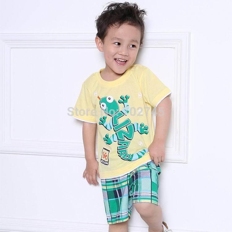 2015 New Summer Boy Sets Scorpions Yellow T-shirt+ Plaid Shorts Children 2 Piece Set 1-6Y 2644(China (Mainland))