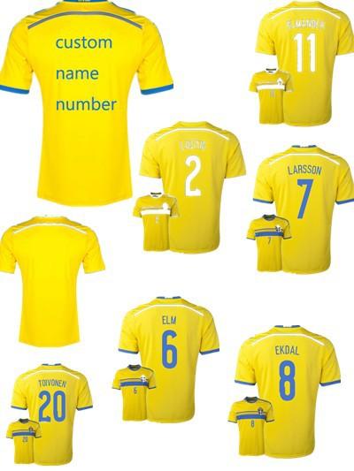 Free Custom All Name 2014 2016 Jersey Sweden Home Away Soccer Jersey #10 Zlatan Ibrahimovic #7 Sebastian Larsson Football shirt(China (Mainland))