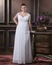 Vestido De Noiva 2015 Custom Made Elegant White/Ivory Appliques Beading Chiffon Plus Size Wedding Dress Robe De Mariage(China (Mainland))