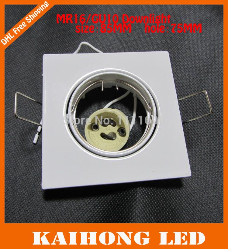 10pcs/lot Square white MR16 GU10 socket downlight fitting ceiling spot light(China (Mainland))