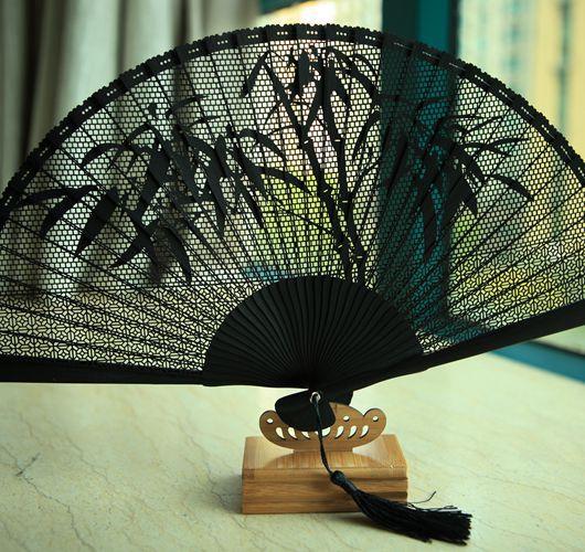[High-end gift fan] Edo Japanese folding fan bamboo handle black box full of bamboo fan with bamboo carving(China (Mainland))