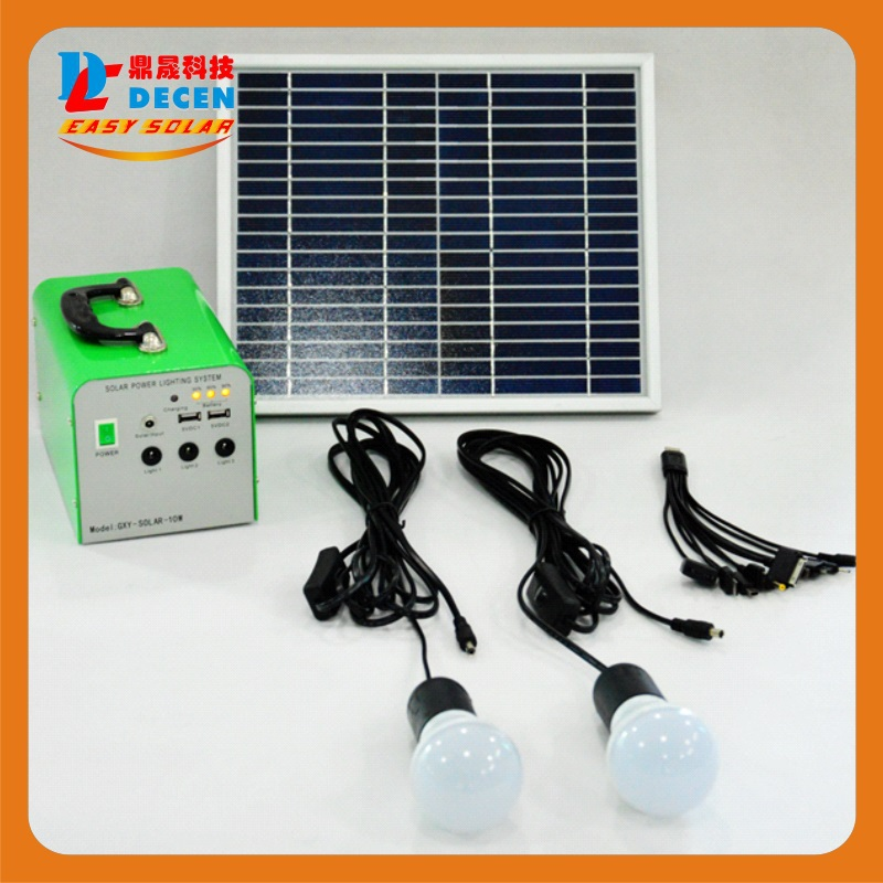 DECEN@20W Solar Power System Include 20W Solar Panel+12V 7Ah Battery+2pcs LED Lamp+ USB Connector+ 5m DC Cable With Charging(China (Mainland))