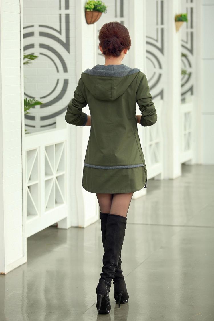 Autunm и зима женщины плащ пальто приталенный 5XL средний - длинная ветровка пэчворк пр закрытый воротник верхней одежды