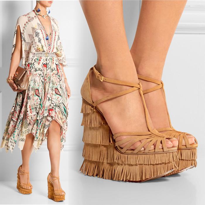 Designer Suede Fringed Platform Wedge Sandals Super High Heel T Strap