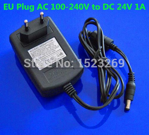 10PCS EU Plug AC 100 240V to DC 24V 1A Switching Power Supply Converter Adapter For