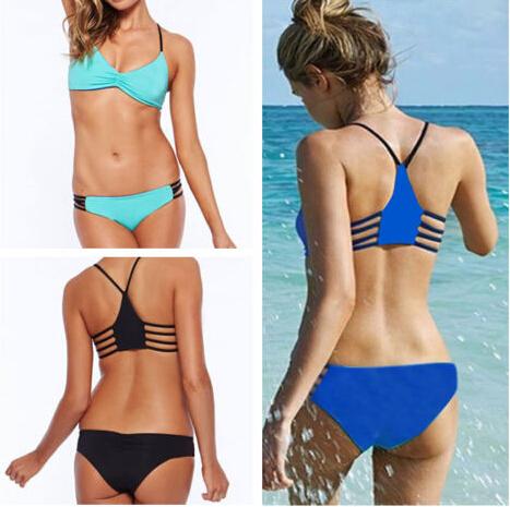 wholesale 50sets women 2015 bandage triangle bikini set sexy lady push up bra bathing suit 6color 3size via express shipping(China (Mainland))
