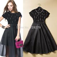 2015 Spring Summer Dress Women's Clothing High quality Handmade Beading Patchwork Ladies slim One-piece dress Full dress Black