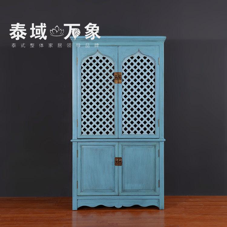 Neoclássico guarda-roupa de madeira para o velho azul pintado mobiliário antigo arte chinesa quatro céu aberto escultura(China (Mainland))