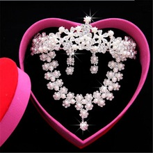 2015 new Korean Pearl fashion Jewelry sets Bride Crown Bridal Necklace Three-piece Suit Marriage Gauze Accessories earrings
