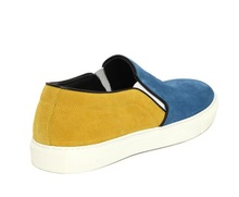 Best selling yellow and blue color elastic band women flats with mcq shoes genuine Leather fashion
