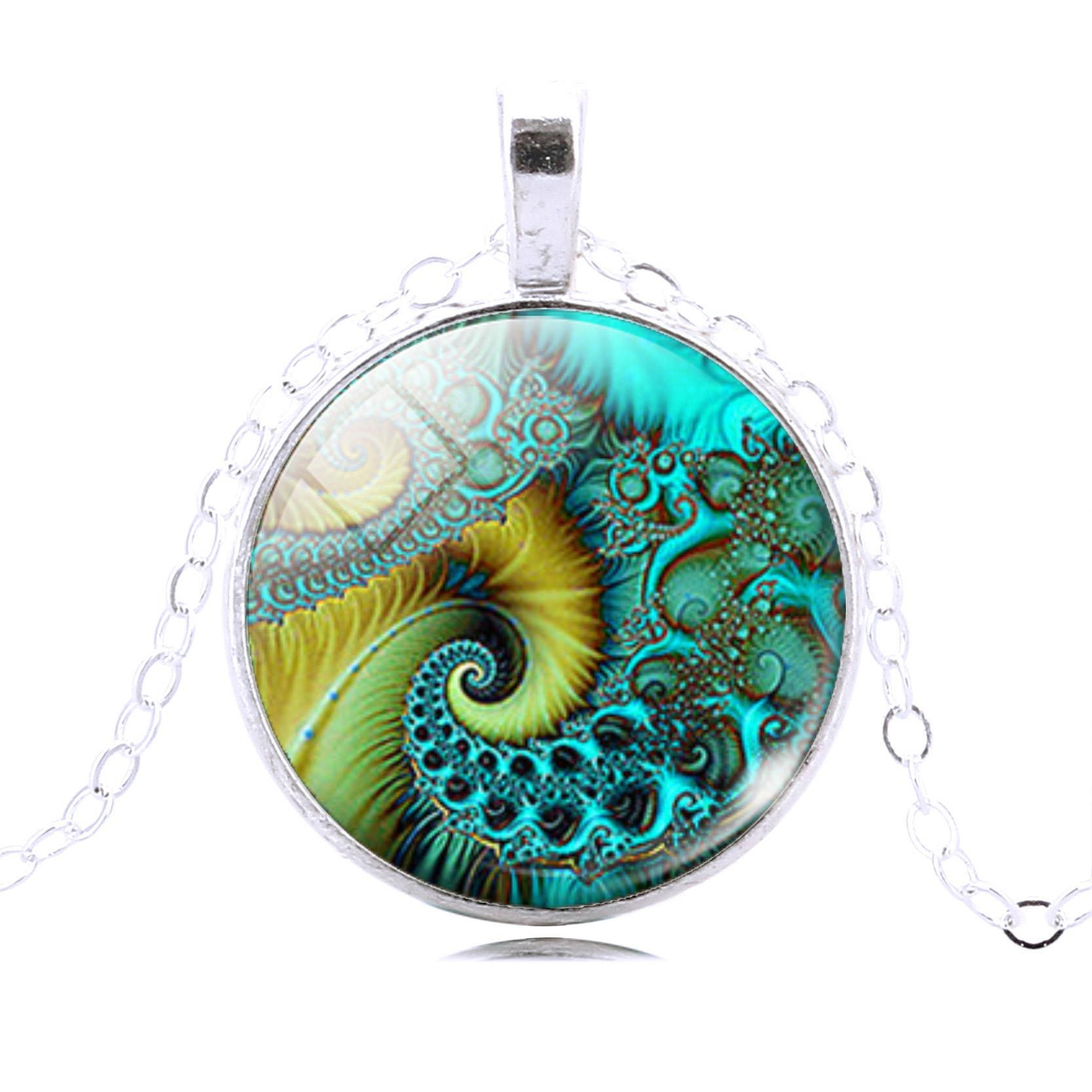 FIBONACCI Spiral Pendant Necklace Fractal Necklace Sacred Geometry Necklace Fashion Sterling Silver Statement Chain Necklace(China (Mainland))