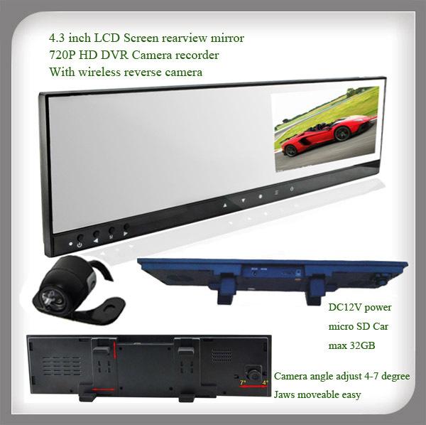 4.3 Inch Monitor car rearview mirror car DVR + HD Car DVR Camera record + wireless camera + G-sensor(China (Mainland))