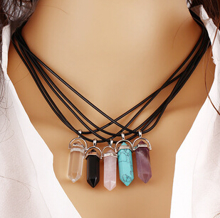 2015 hot New style bullet Natural Stone Amethyst Necklace For Women Turquoise Crystal Gem Stone Pendant Necklaces N390(China (Mainland))