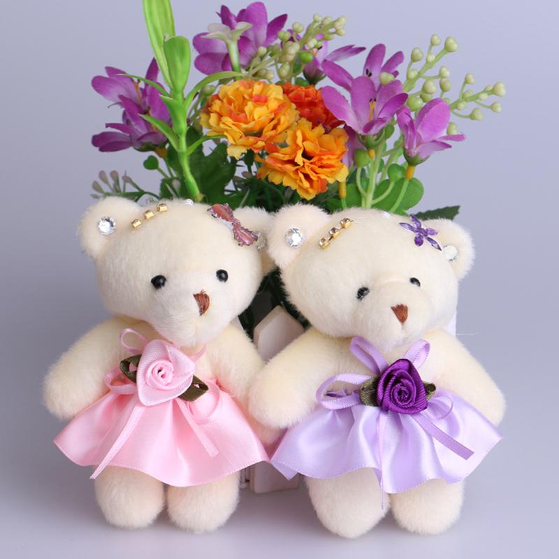 Cute women toys doll flower diamonds bouquets accessory teddy bear lovely plush stuff toy dolls bear 12CM 20PCS/Lot mixed color()