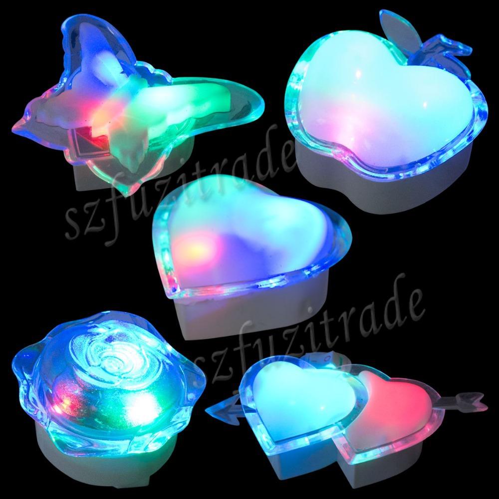 HOT Butterfly Apple Heart Rose Shape Lamps US/EU/AU/UK Plug/Adapter Electric Induction Dream Lamp LED Night Lights AHA00125#2(China (Mainland))