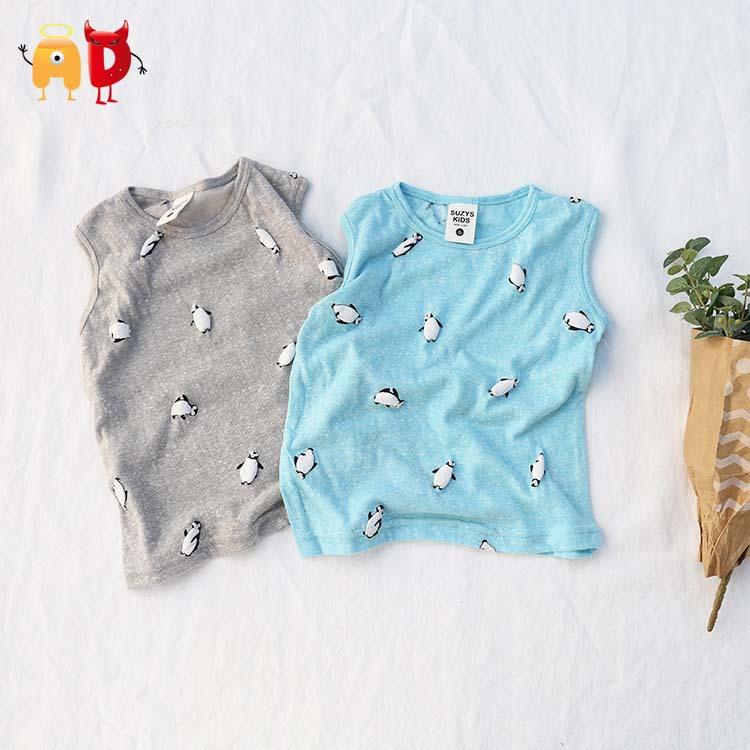 AD 6pcs/lot Cute Penguin Kids Vest 100% Cotton Sleeveless Boys Girls T-shirts Kids Children Clothing Clothes Summer Tees roupas(China (Mainland))