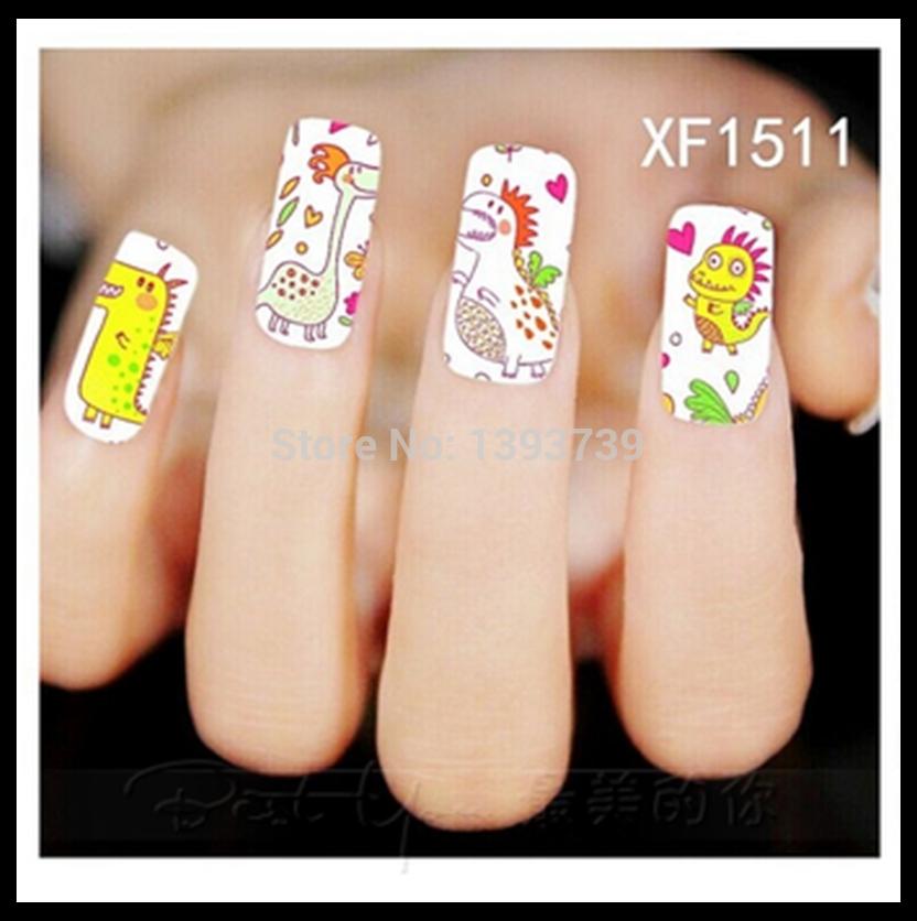 Free shipping Fashion 1Sheet Water Transfer Nail Art Stickers-Cartoon Animals Series Printing MJ0807-XF1511(China (Mainland))