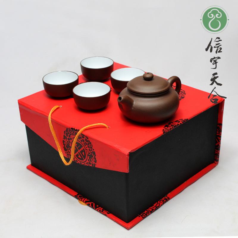 T0803 Yixing purple sand pot set wholesale travel tea set tea pot set can be customized Logo 5 piece suit(China (Mainland))