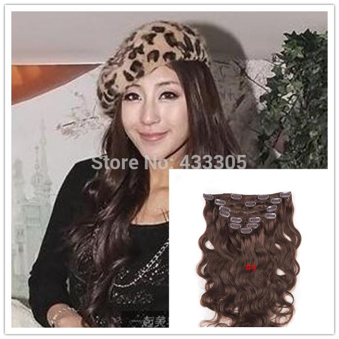 NO Tangle Shedding #4 Dark Brown 18-30 Inchs 100g 7pc/set Remy Hair Long Real Full Head Natural Wavy Clip In Hair Extensions(China (Mainland))