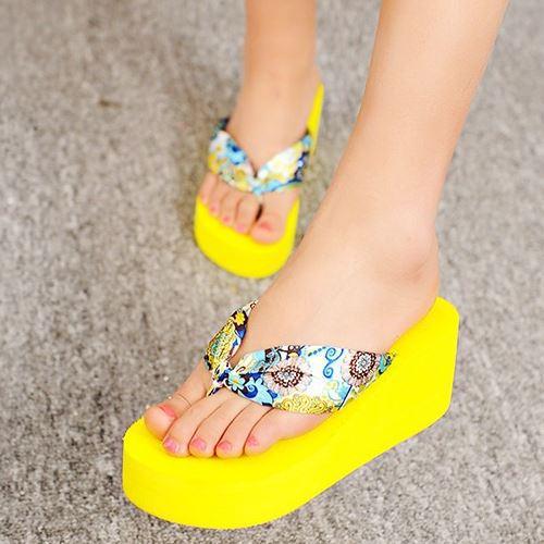 fahion 2015 thick sole platform summer flip flops vintage high heels wedges summer shoes women shoes(China (Mainland))