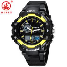 Militar del ejército OHSEN LED Digital Dual Core reloj para hombre deporte fecha día cronómetro negro Rubber Band reloj 50 M natación buceo relojes