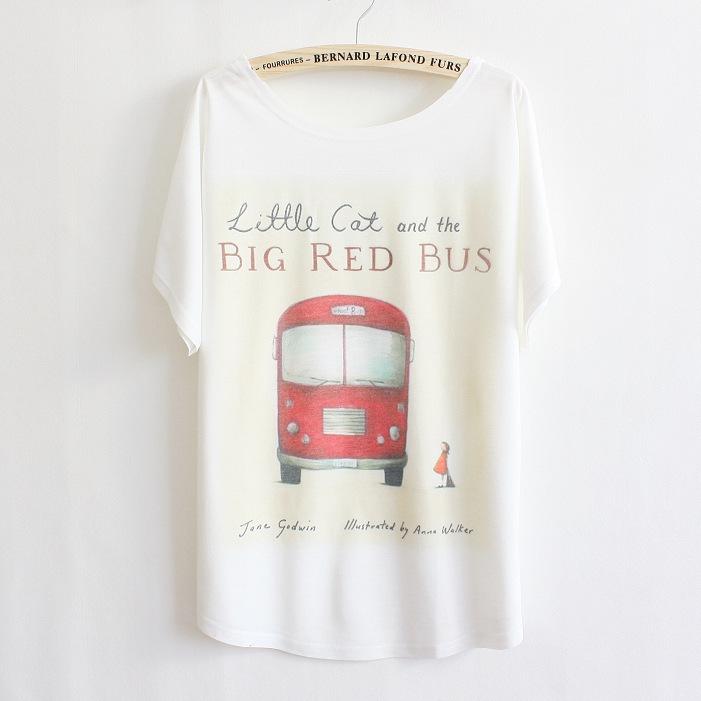 2015 new designed South Korea women tops big red bus pattern cotten t-shirt Loose bat t shirt women(China (Mainland))