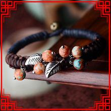 New nationa Colorful Rain Stone bracelets,Fashion Tibetan Silver leaf ethnic bracelet ,handmade braided Thailand vintage bangle(China (Mainland))
