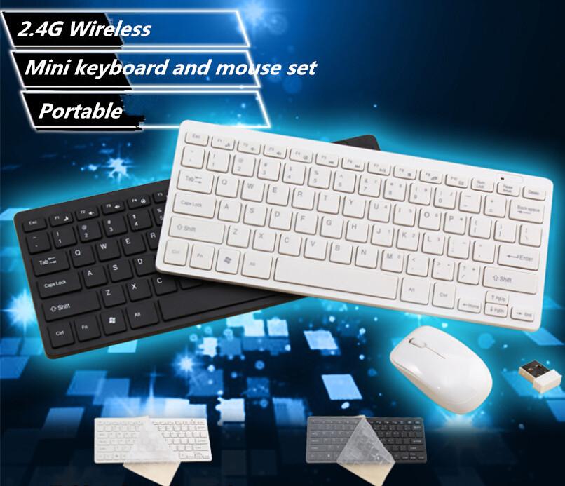 1 set 2.4G White/Black Mini Wireless Keyboard and Mouse Keypad Film Kit Set Portable Keyboard For Macbook PC Laptop Freeship(China (Mainland))